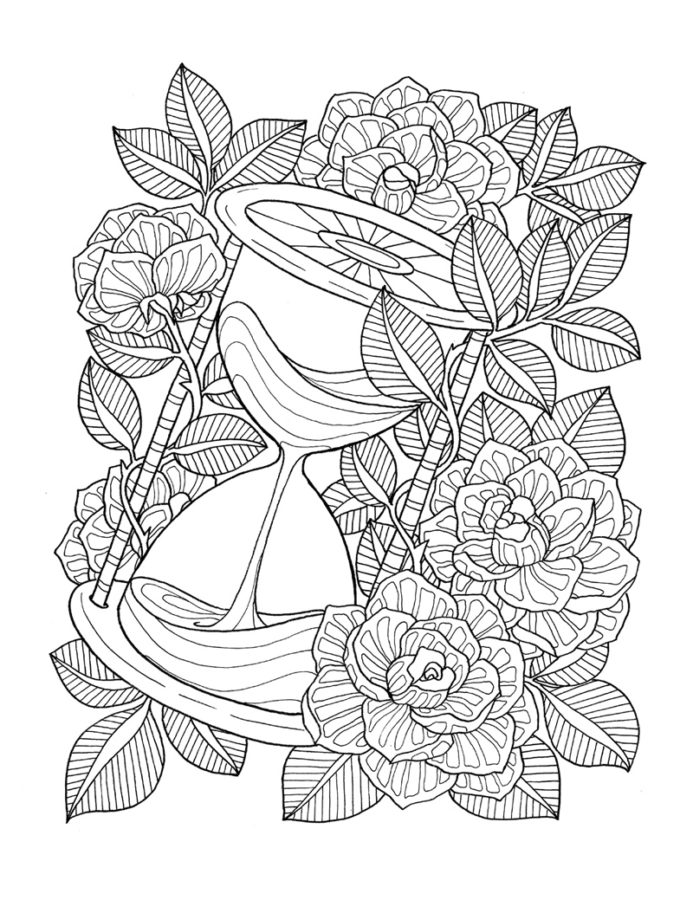 Раскраска антистресс роза