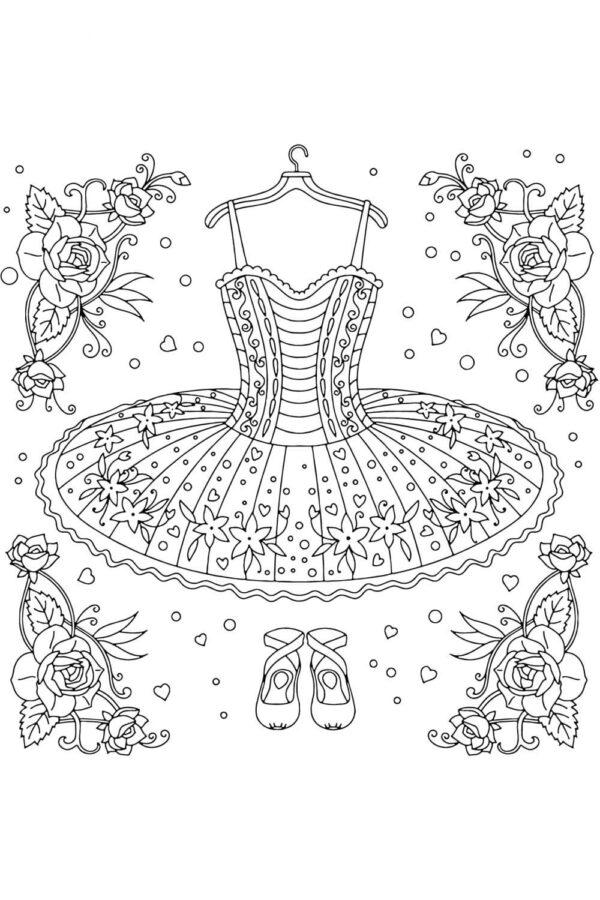 Раскраска бальное платья и пуанты