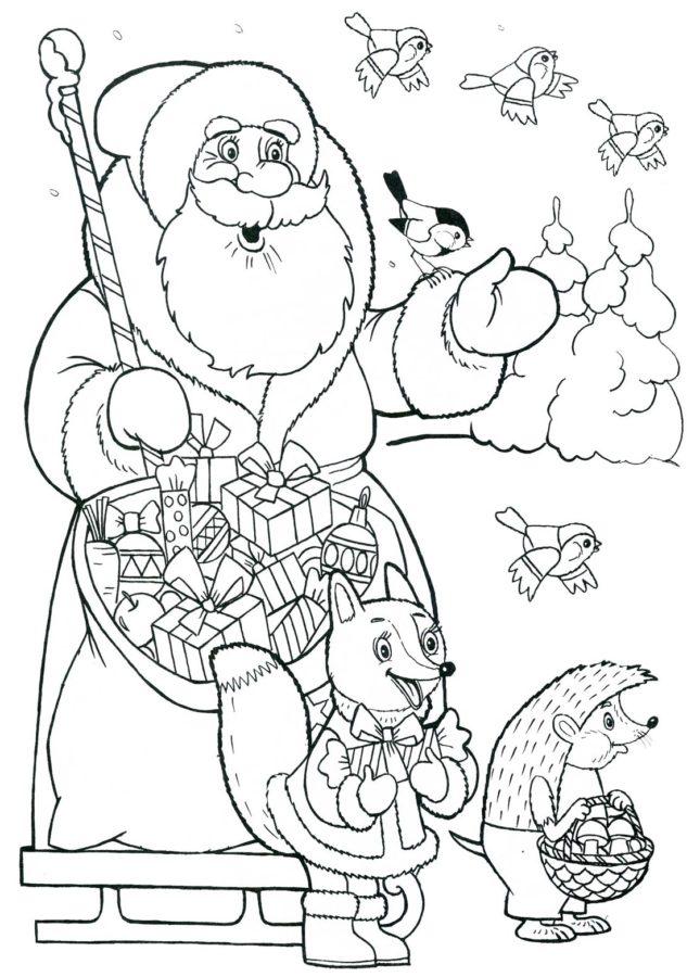 Раскраска Дед Мороз с мешком подарков