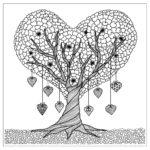 Раскраска дерево из сердечек