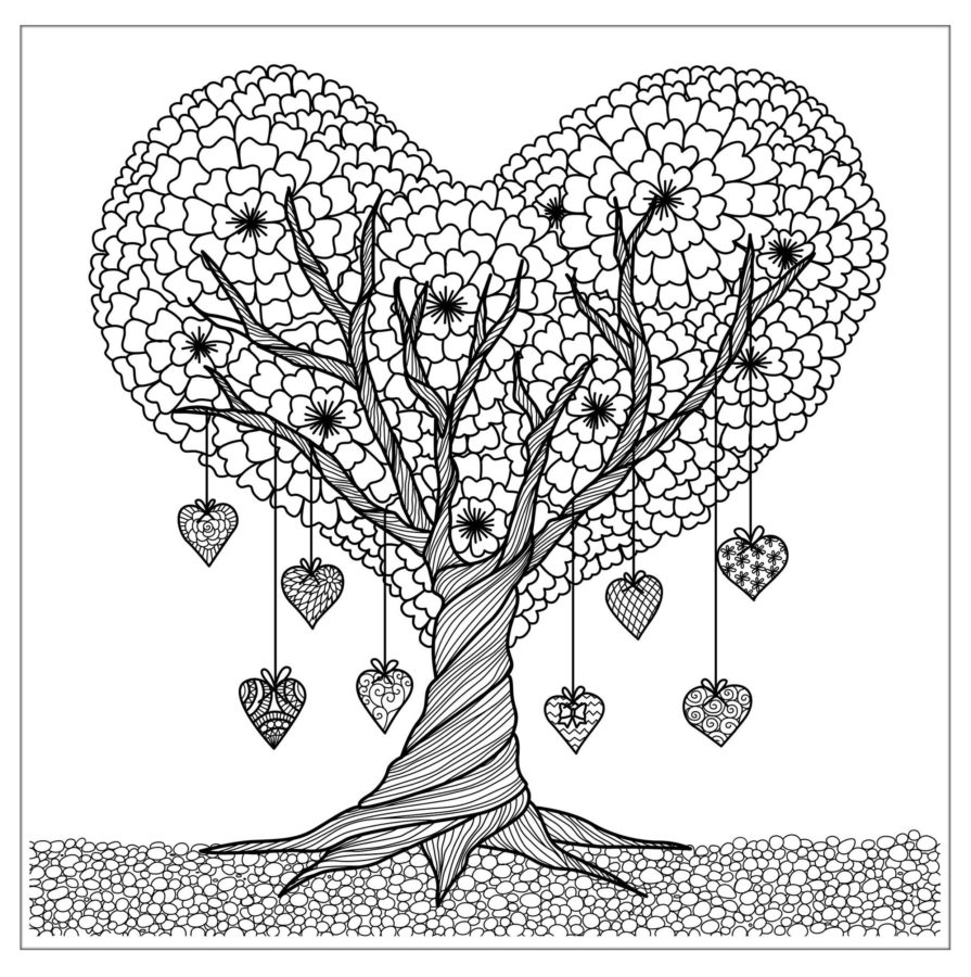 Дерево из сердечек