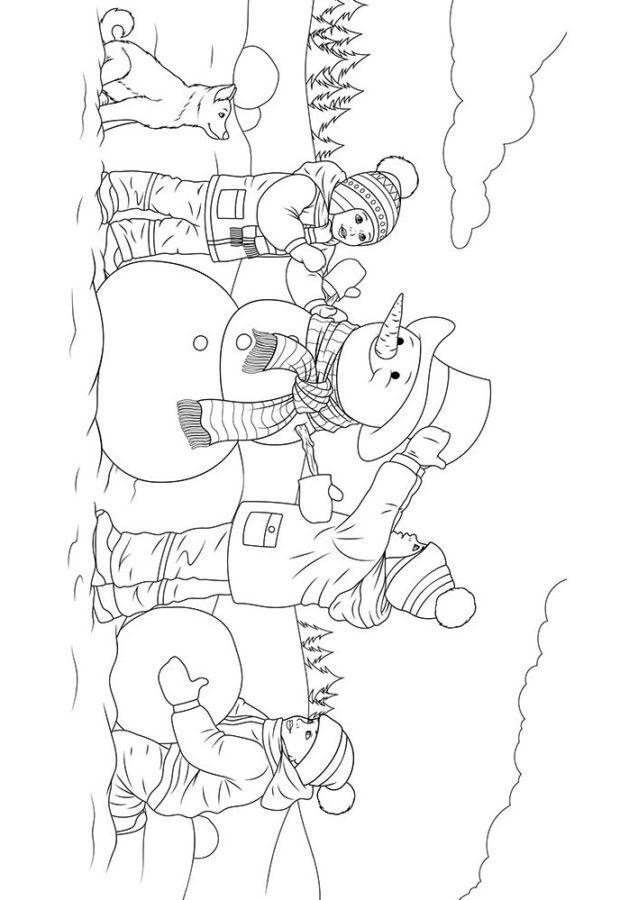 Раскраска дети одевают снеговика