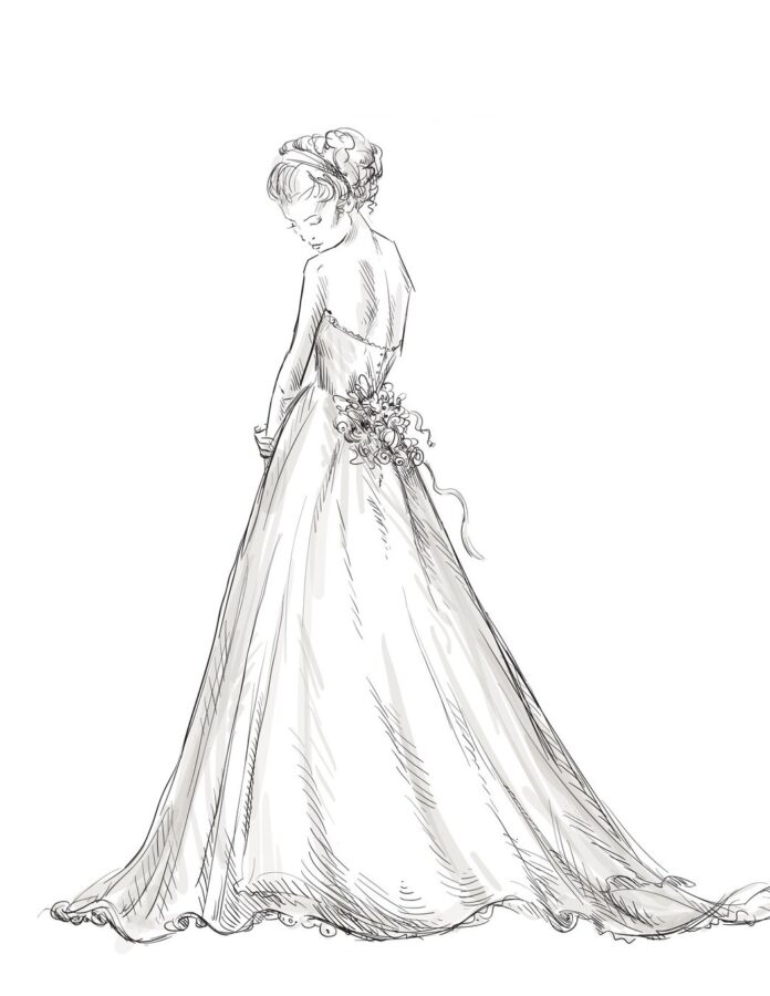 Раскраска девушка невеста в длинном платье