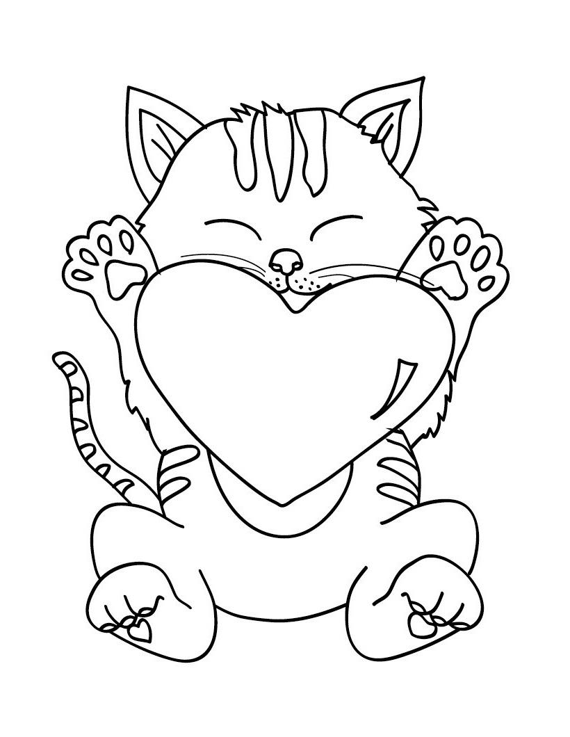 Раскраска кошка с сердечком