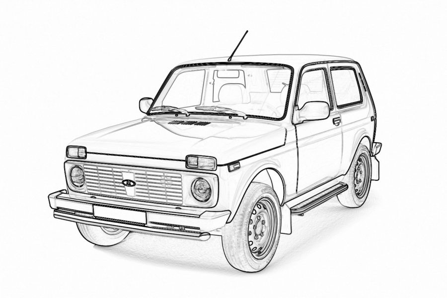 Раскраска Лада НИВА 4х4 (ВАЗ 2121)