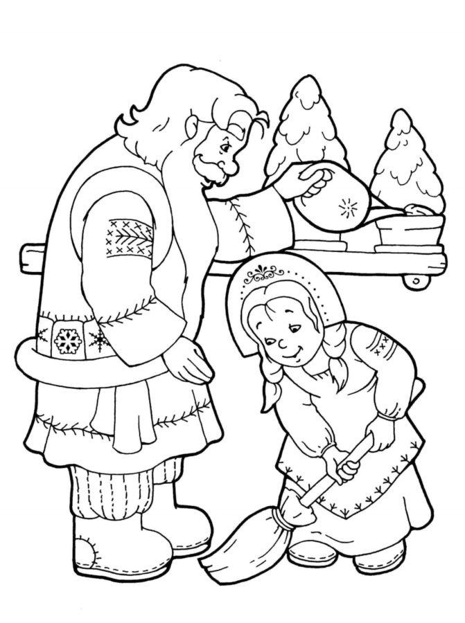 Раскраска мастерская Деда Мороза