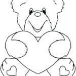 Раскраска медвежонок с сердечком