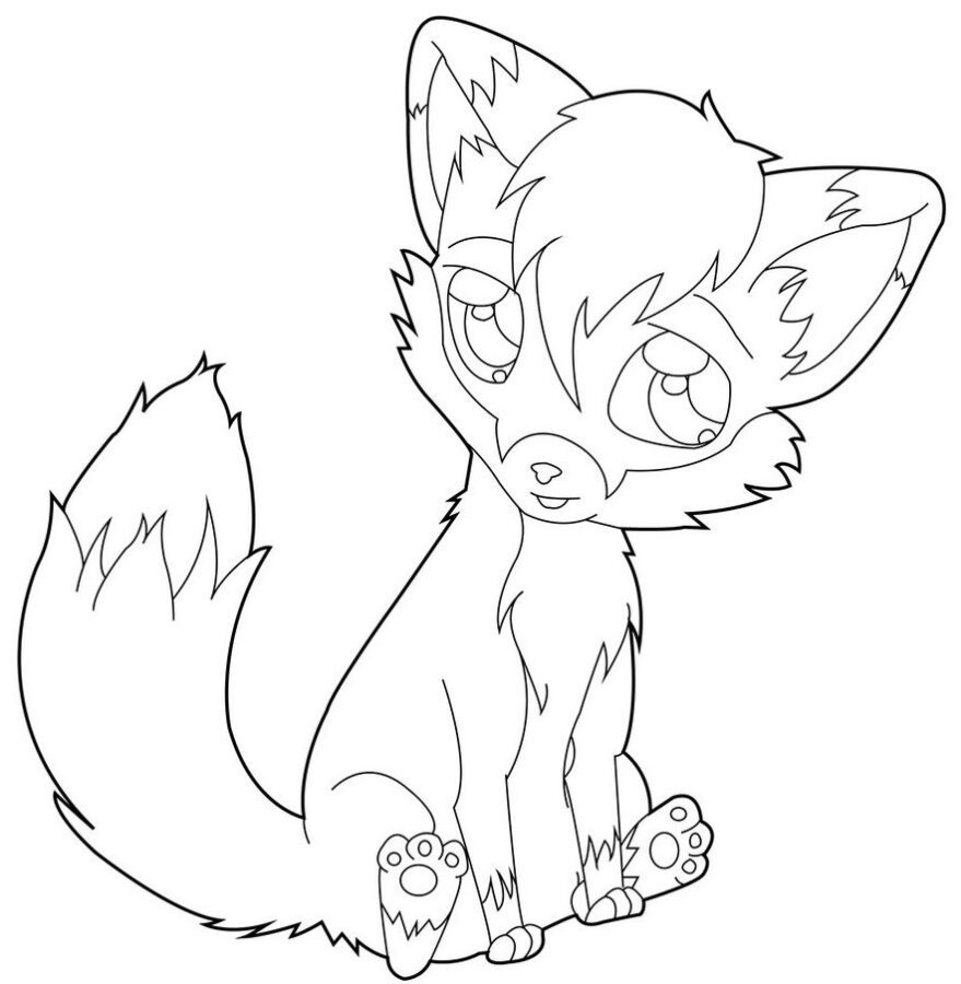 Раскраска милая лисичка