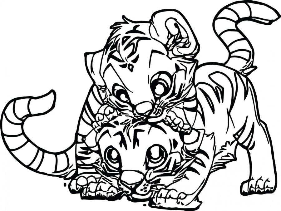Раскраска милые тигрята