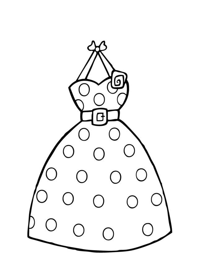 Раскраска платье в горошек