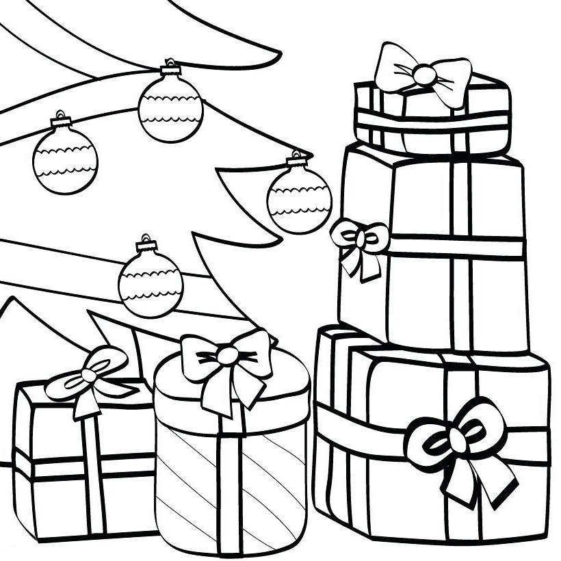 Раскраска подарки под ёлкой