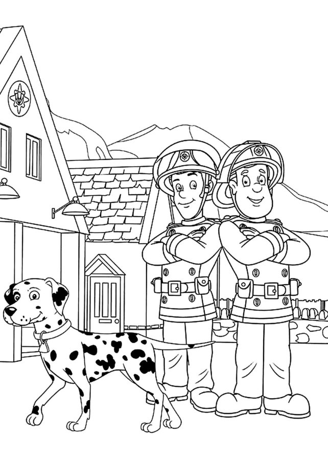 Раскраска пожарная собака