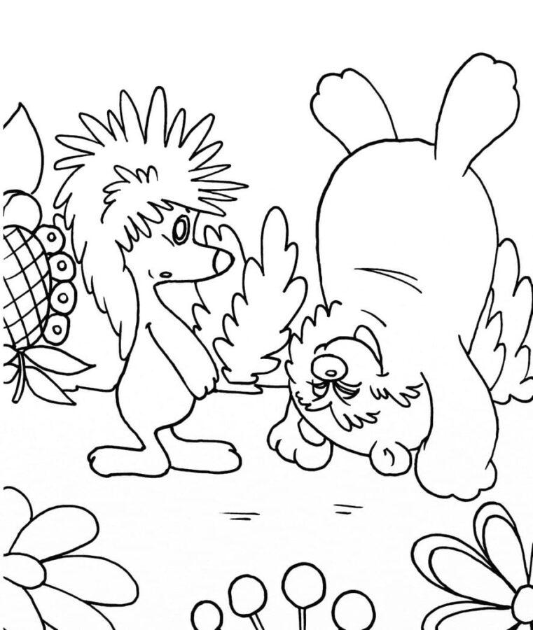Раскраска про ёжика и медвежонка