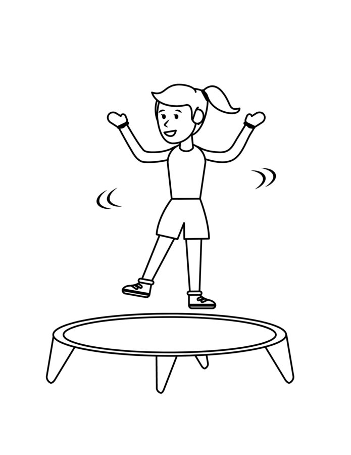 Раскраска прыжки на батуте