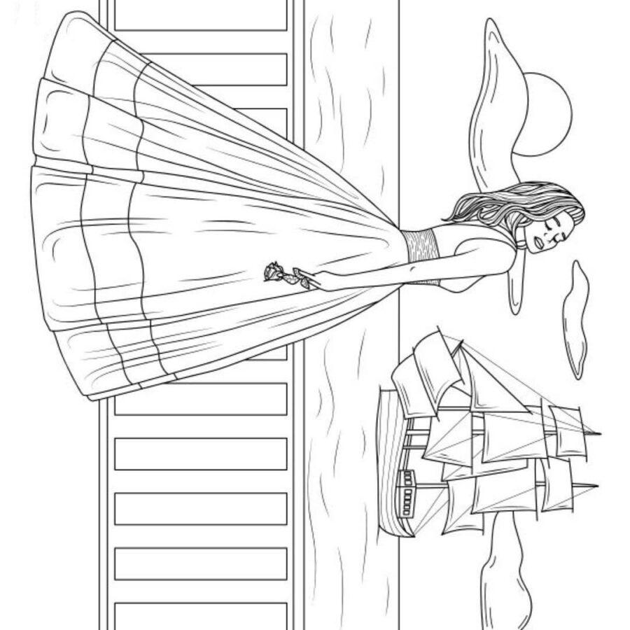 Раскраска девушка в пышном платье