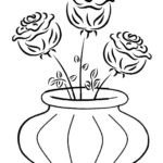 Раскраска роз в вазе