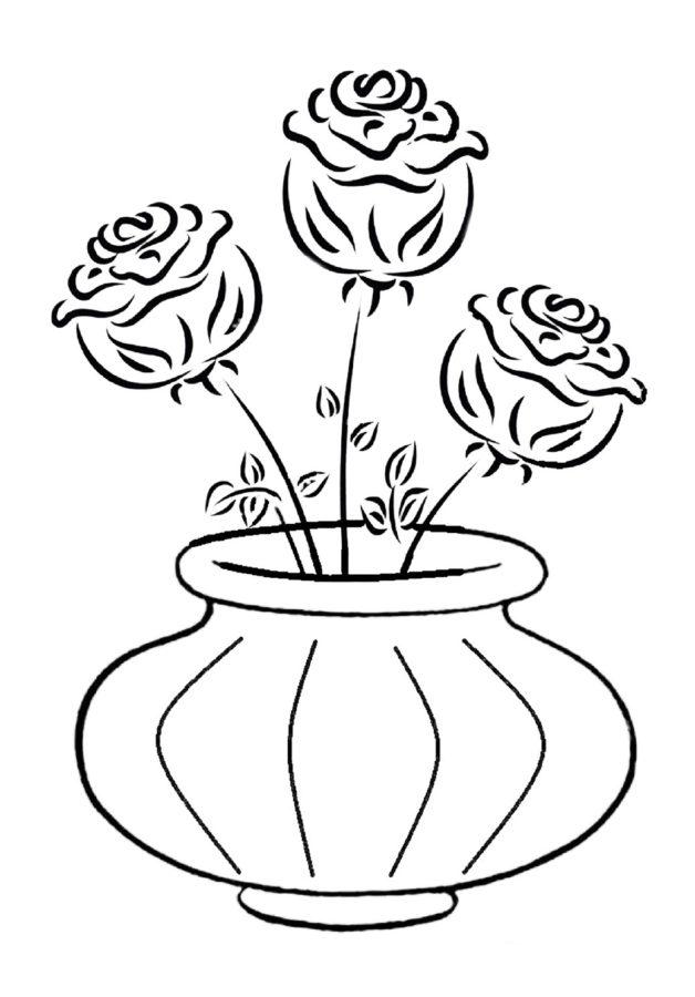 Раскраска три розы в вазе