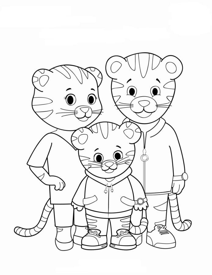 Раскраска семья тигров