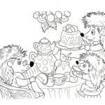 Раскраска семья ёжиков