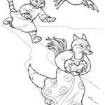 Раскраска сказки кот петух и лиса