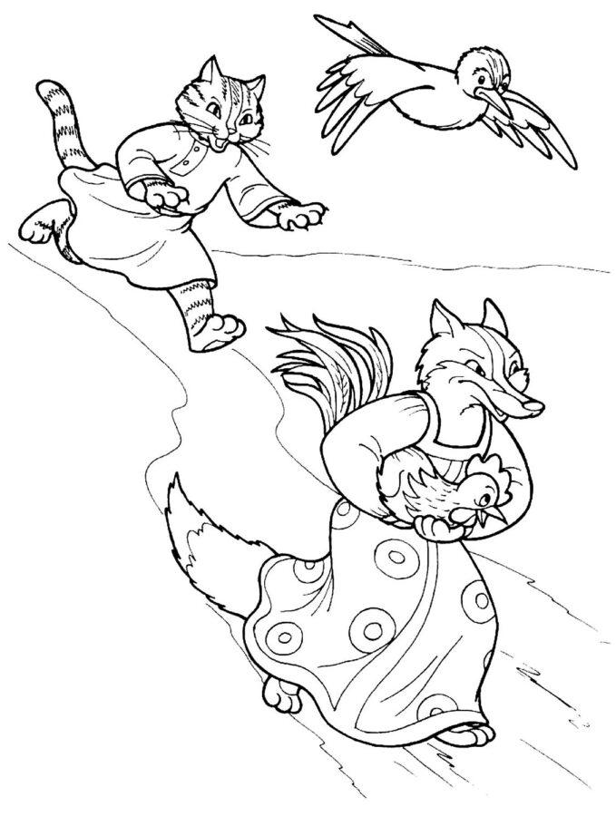 Раскраска из сказки кот петух и лиса