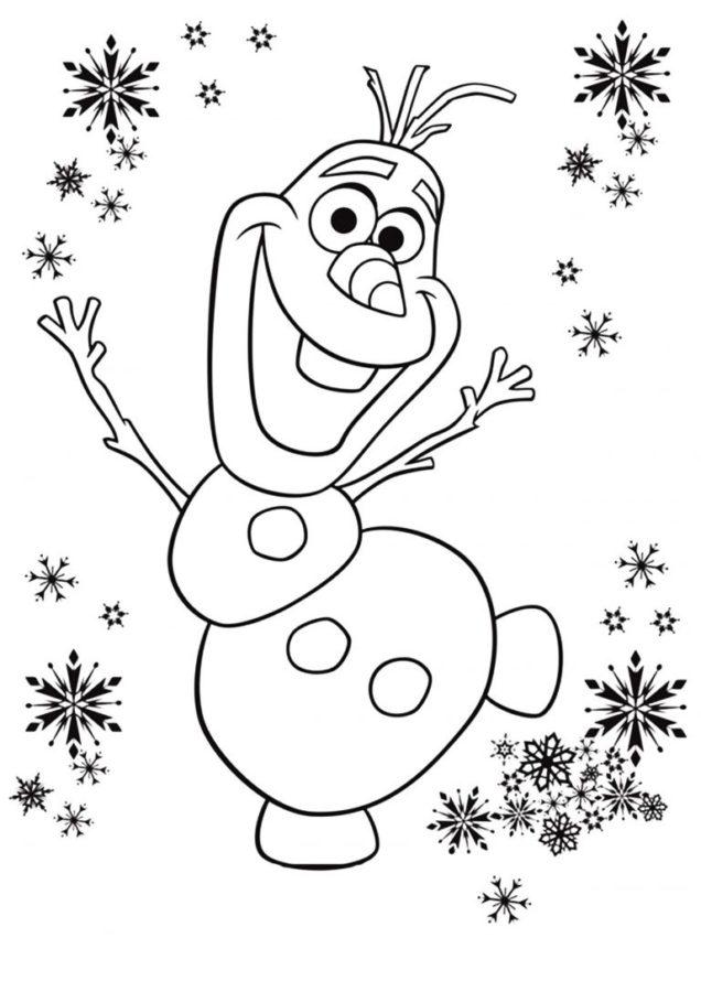 Раскраска снеговика из холодного сердца