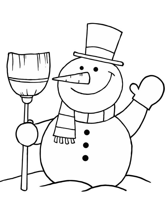Раскраска снеговик с метлой