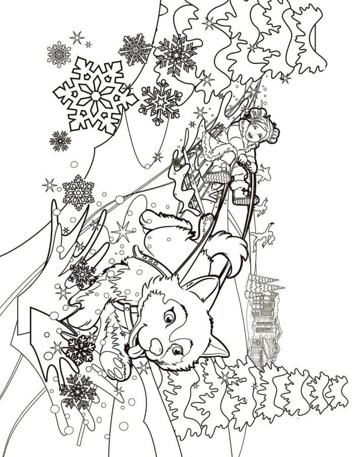 Раскраска Снегурочка и лиса