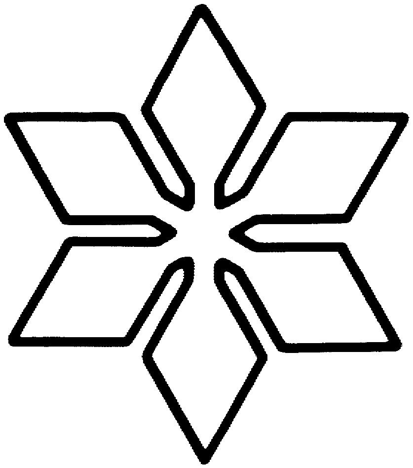 Снежинка контурный рисунок