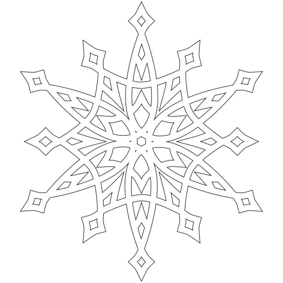 Раскраска трафарет снежинки