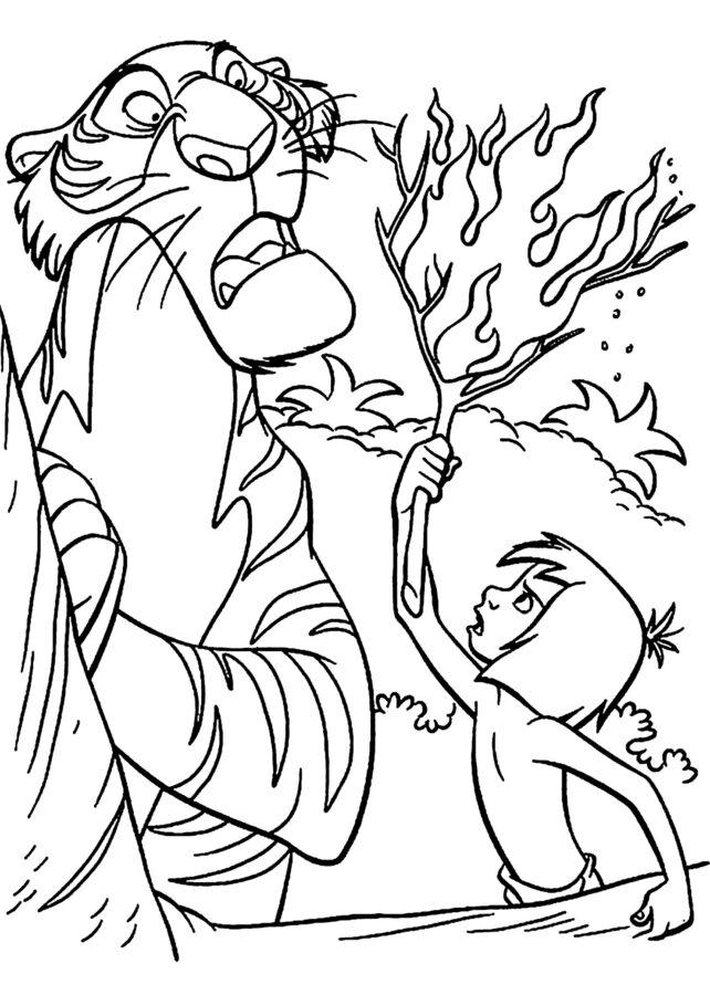 Раскраска тигр Шерхан