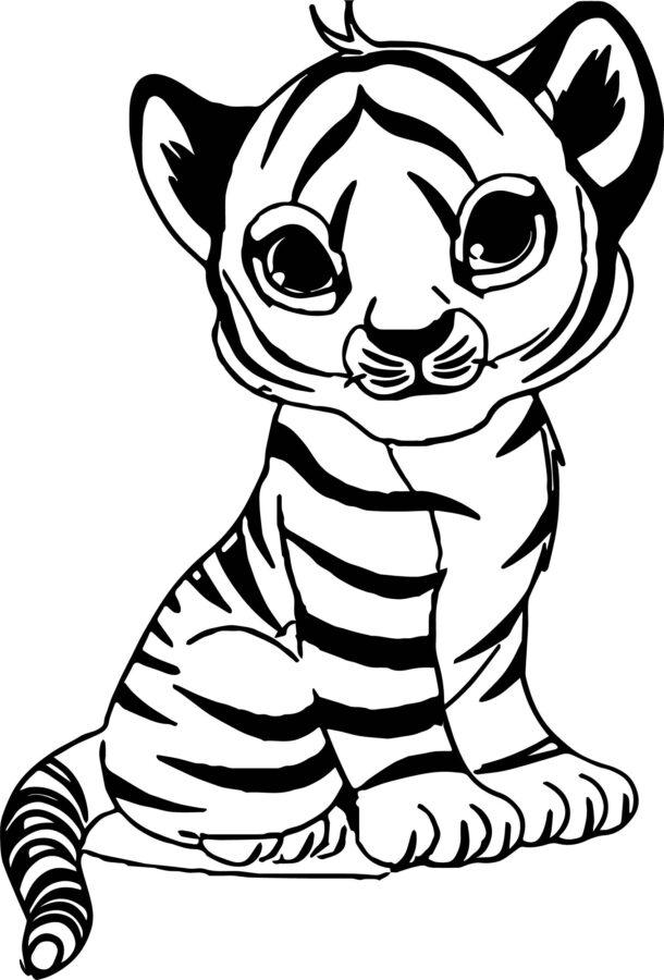 Раскраска тигрёнок