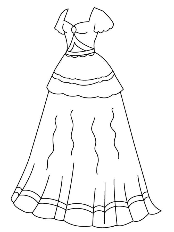 Раскраска длинное платье с вырезом