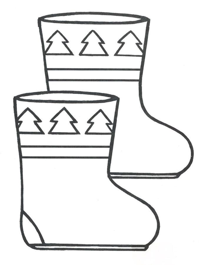 Раскраска валенки Деда Мороза