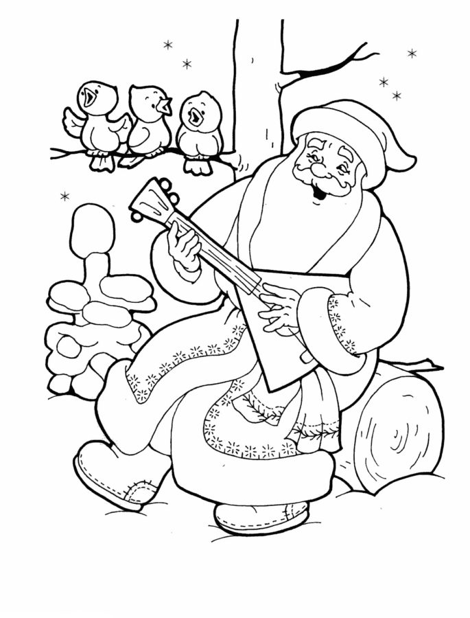 Раскраска весёлый Дед Мороз