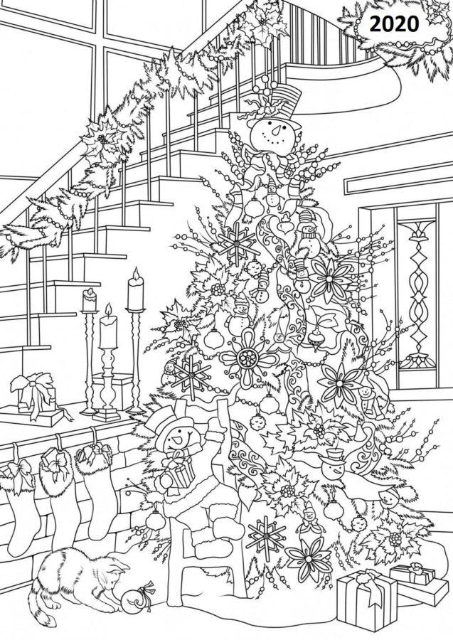 Раскраска ёлка новогодняя