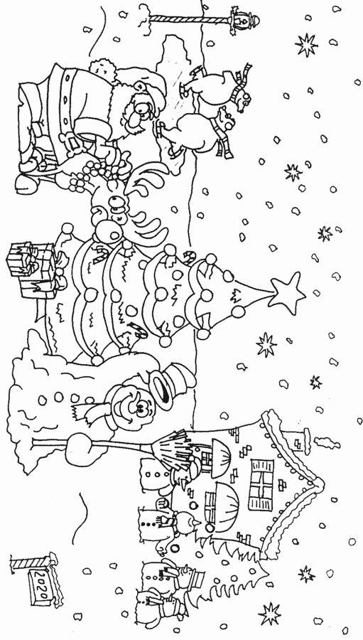 Раскраска ёлка со снеговиком
