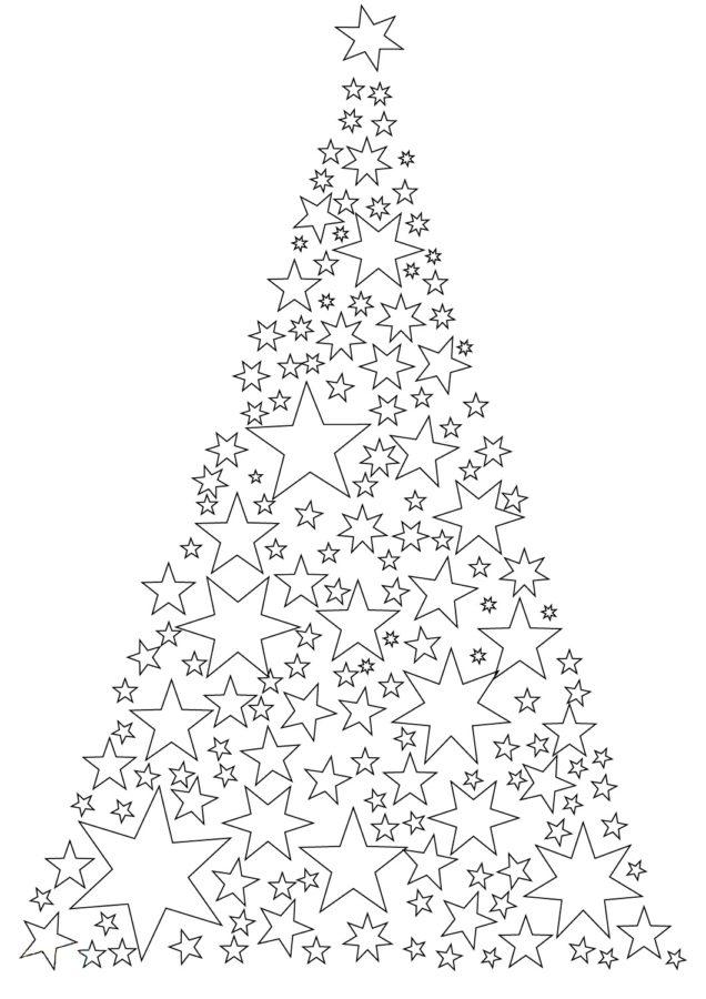 Раскраска ёлка со звездами