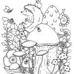 Раскраска ёжик с грибами