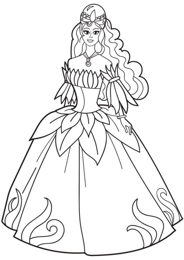 Раскраска женщина в платье