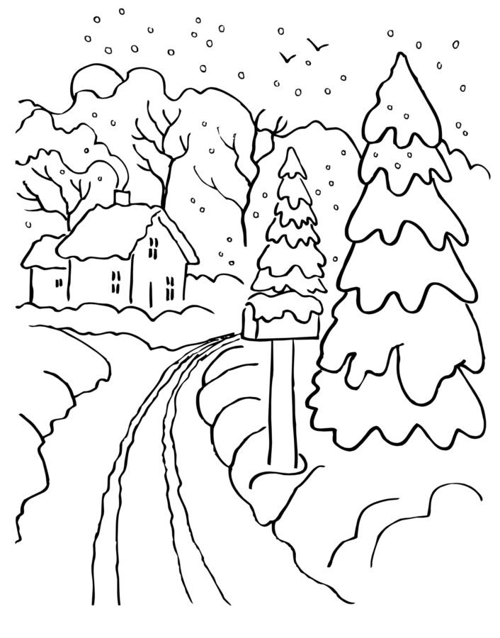 Раскраска зима ёлка
