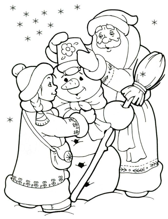Раскраска Дед Мороз, Снегурочка и снеговик
