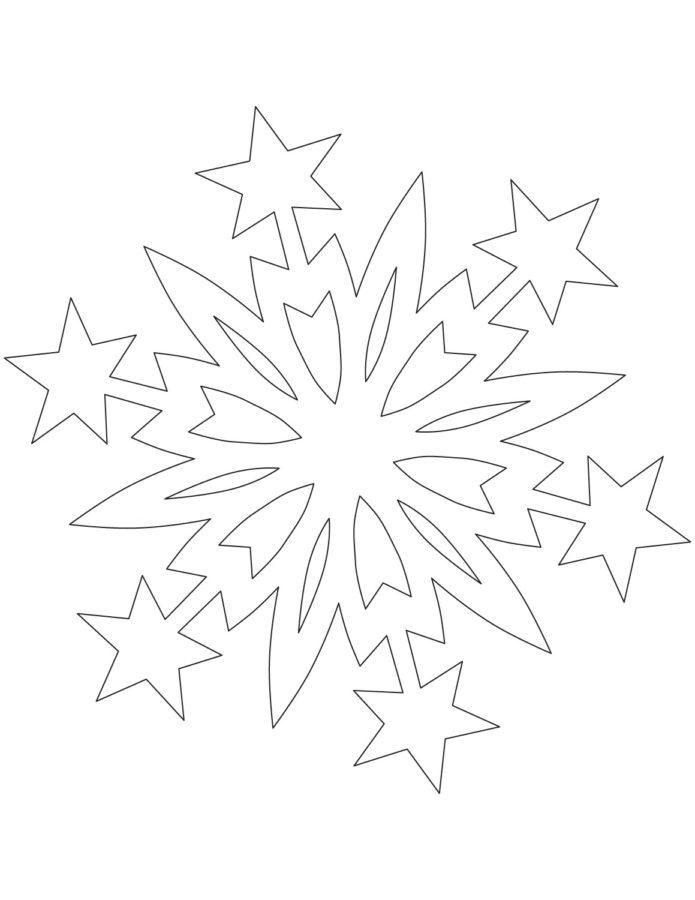 Раскраска снежинка на окно