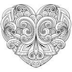 Раскраски сердечки с узорами