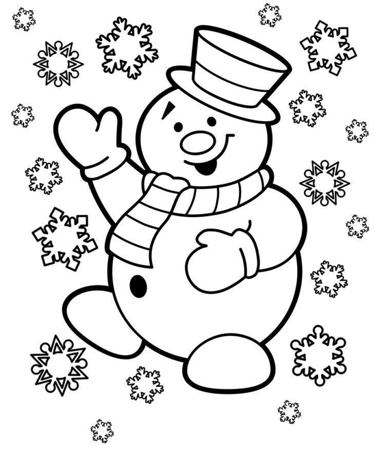 Раскраска снеговик и снежинки
