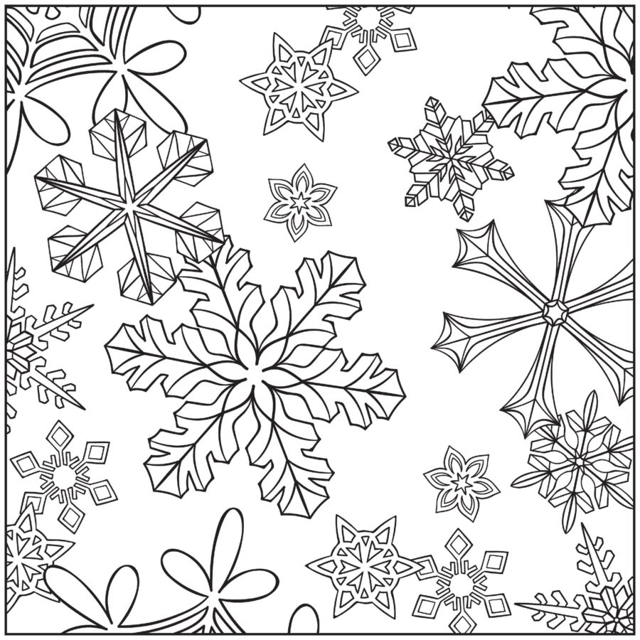 Раскраска красивых снежинок