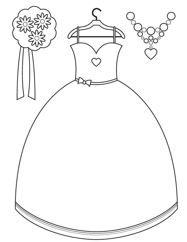 Раскраска свадебное платье