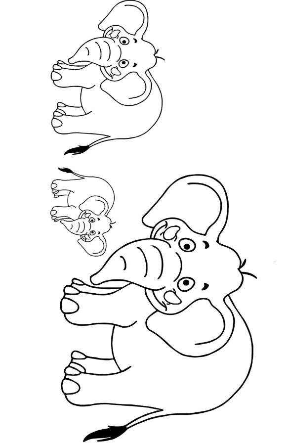 Раскраска семья слонов