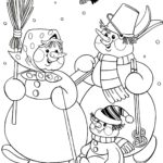 Семья снеговиков раскраска