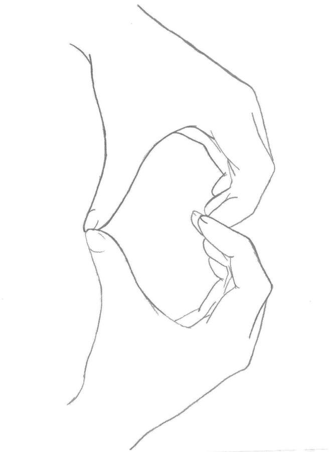 Сердечко пальцами рук раскраска